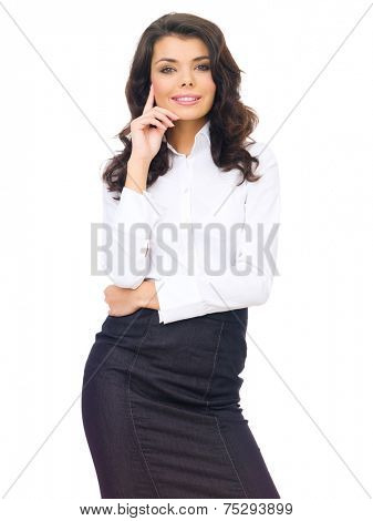 Close up Attractive Woman with Wavy Hair Posing in Black and White Corporate Attire. Isolated on White Background.