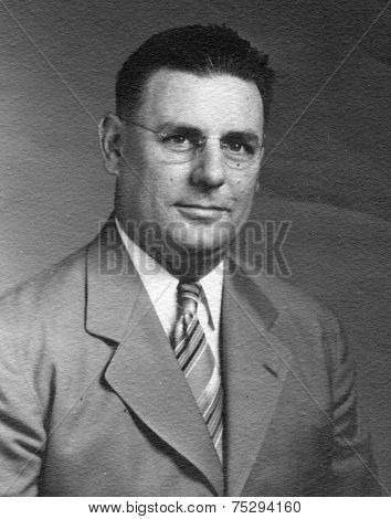 CANADA - CIRCA 1940s: Vintage photo shows studio portrait of a man.