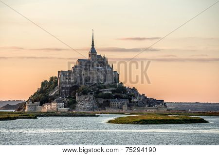 Mont Saint Michele at dusk France