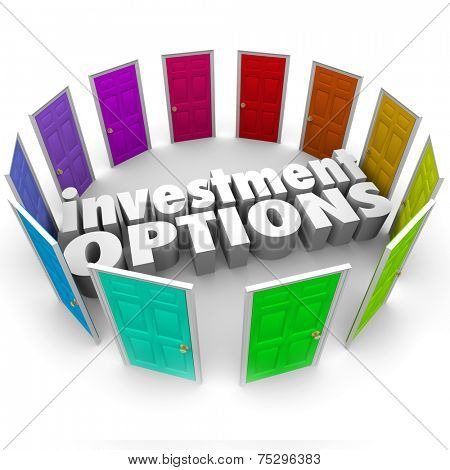 Investment Options 3d words surrounded by doors illustrating many paths or choices for saving money including 401k, ira, annunity, stocks or bonds