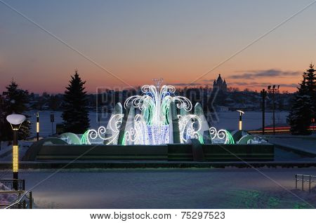 Fountain In The Winter, With Night New Year's Illumination