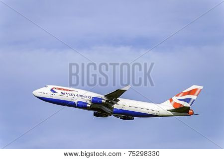British 747 Airliner From Heathrow