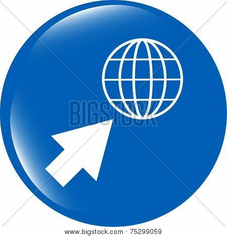 Internet Sign Icon. World Wide Web Symbol. Cursor Pointer. Circles Buttons