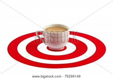 Coffee Cup In The Center Of Red Target