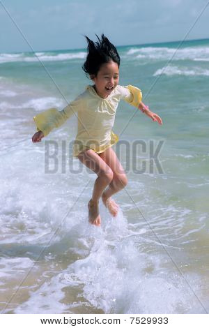 jumping in beach