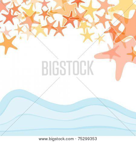 Colorful sea starfish illustration over white background