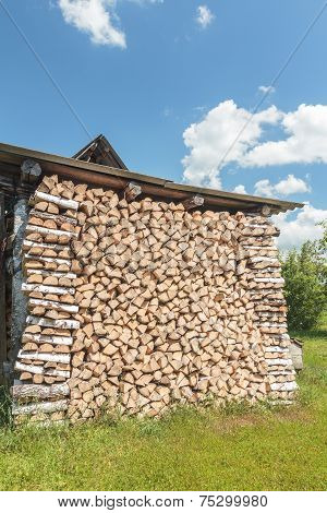 Stacked Birch Dry Woods With Crib End