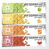 stock photo of qr-code  - QR Code Business Infographic Banner And Background Design Template - JPG