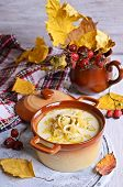 image of eat me  - Thick white soup with pasta and vegetables - JPG