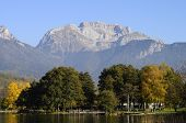 picture of annecy  - Overview of Lake of Annecy and Tournette mountain in autumn in france - JPG