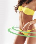 pic of skinny fat  - Female body with a cycle arrows - JPG