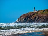 foto of coast guard  - North Head Lighthouse in Viewed from Benson Beach on the Washington Coast USA - JPG