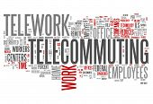 stock photo of telecommuting  - Word Cloud Image Graphic with Telecommuting related tags - JPG