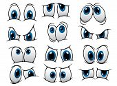 stock photo of sad eyes  - Large set of people cartoon eyes depicting a variety of expressions with anger - JPG