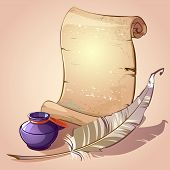 pic of inkpot  - Ancient scroll with feather and inkpot on a beige background - JPG