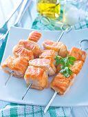 foto of kebab  - salmon kebab on the white platye - JPG