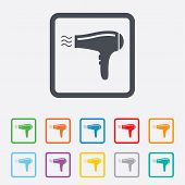 foto of hair blowing  - Hairdryer sign icon - JPG