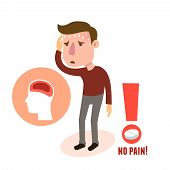 pic of male body anatomy  - Sick headache male person character with pill vector illustration - JPG