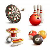 foto of indoor games  - Game realistic icons set with bowling pinball billiard darts isolated vector illustration - JPG