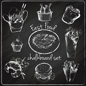 ������, ������: Fast food icon chalkboard