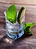 image of peppermint  - cocktail with lime ice and peppermint leaves - JPG