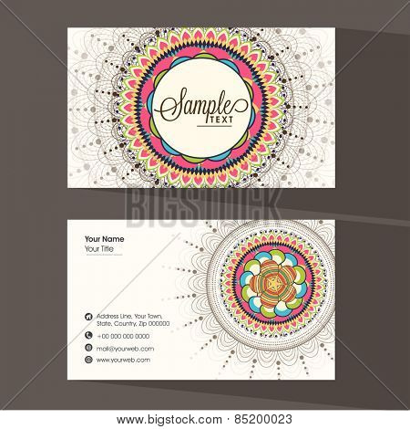 Two sided presentation of a designer business card with place holders for your professional contacts.