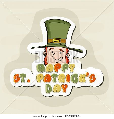 Happy St. Patrick's Day celebration sticker, tag or label design with smiling leprechauns on stylish background.