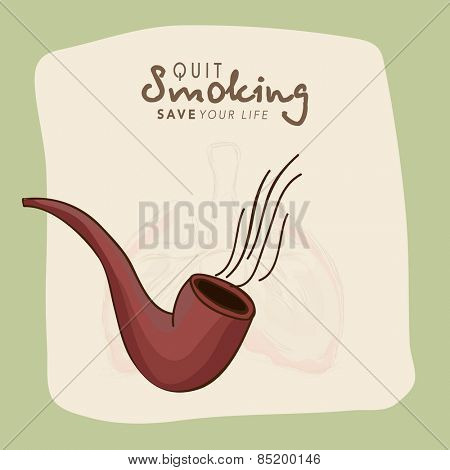 No Smoking Day concept with tobacco pipe and human lungs on stylish background.