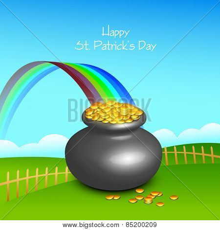Glossy pot full of gold coins with rainbow on nature view background for Happy St. Patrick's Day celebration.