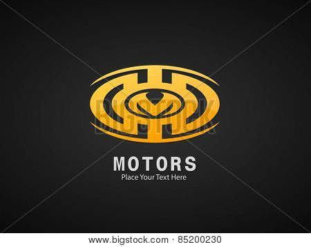 Motors business symbol on black background.