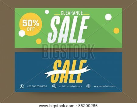 Beautiful website header or banner set for Clearance Sale with 50% discount offer.