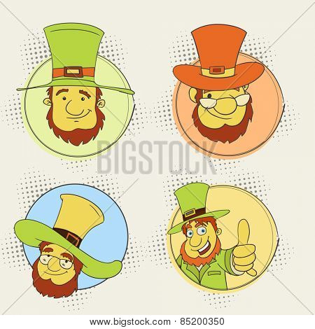 Sticker, tag or label design with leprechaun in hat for Happy St. Patrick's Day celebration.