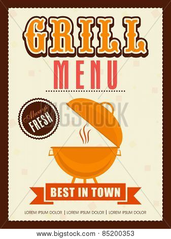 Vintage Grill menu card, template or flyer design for restaurant.