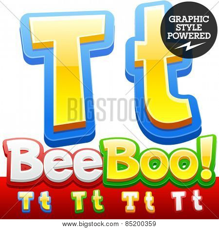 Vector set of 3D colorful children font in cartoon style. Optional different colors. Letter T