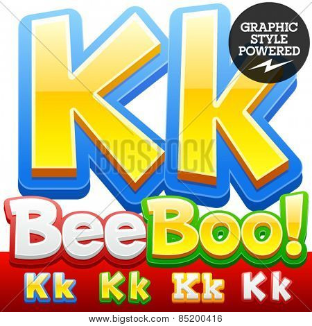 Vector set of 3D colorful children font in cartoon style. Optional different colors. Letter K