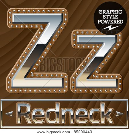 Vector set of silver country style font with wooden rivet border. Letter Z