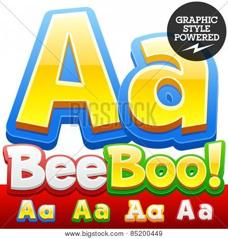 Vector set of 3D colorful children font in cartoon style. Optional different colors. Letter A