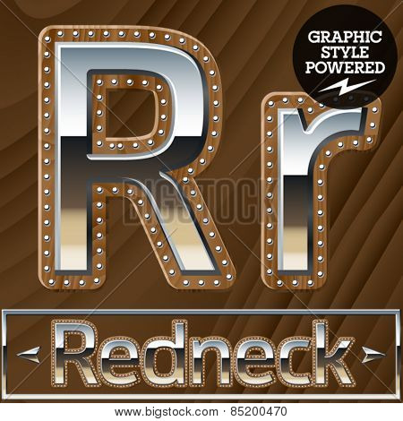 Vector set of silver country style font with wooden rivet border. Letter R