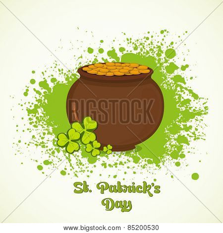 Happy St. Patrick's Day celebration with brown mud pot full of gold coins and clover leaves on green color splash background.