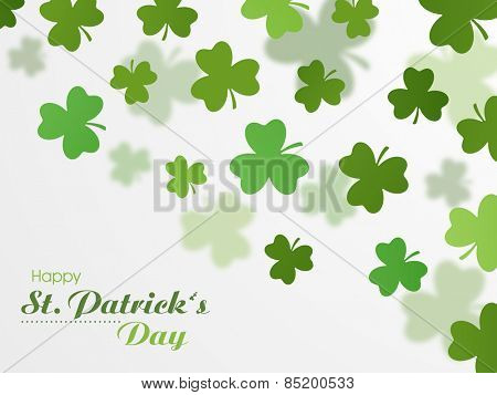 Happy St. Patrick's Day celebration background with Irish lucky clover leaves.
