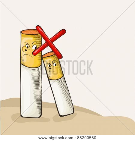 Funny illustration of cigarette with red cross sign for No Smoking Day concept.