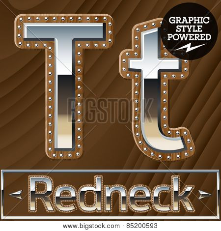 Vector set of silver country style font with wooden rivet border. Letter T