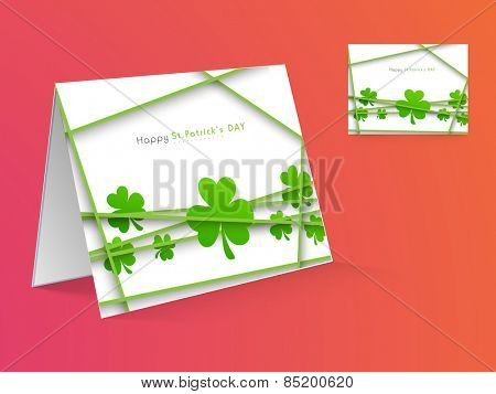 Beautiful greeting card design decorated with Irish lucky shamrock leaf for Happy St. Patrick's Day celebration.