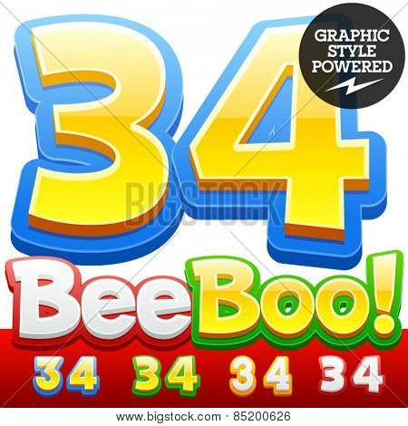 Vector set of 3D colorful children font in cartoon style. Optional different colors. Numbers 3 4