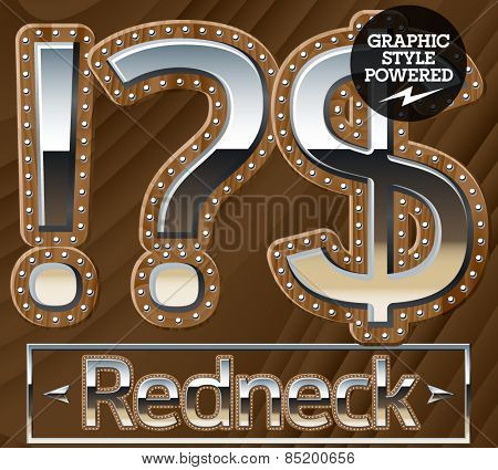 Vector set of silver country style font with wooden rivet border. Symbols 1