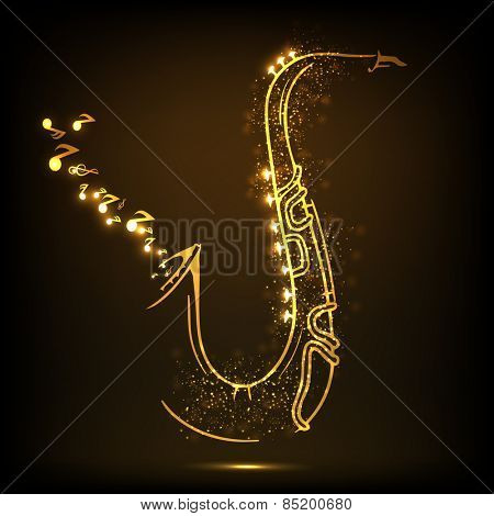 Golden illustration of musical notes coming out from saxophone on shiny brown background.