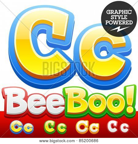 Vector set of 3D colorful children font in cartoon style. Optional different colors. Letter C