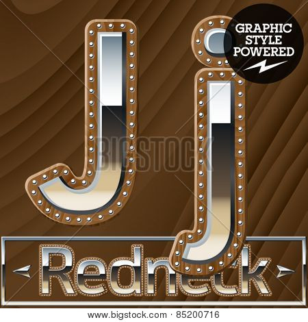 Vector set of silver country style font with wooden rivet border. Letter J