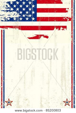 USA scratched background. A vintage background with a flag of USA and a texture for your advertising