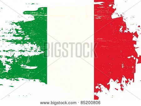 Scratched italian Flag. An italian flag with a grunge texture